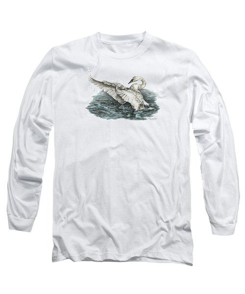 Long Sleeve T-Shirt featuring the drawing White Swan - Dreams Take Flight-tinted by Kelli Swan