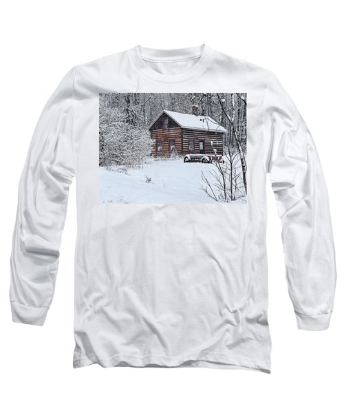 Long Sleeve T-Shirt featuring the photograph Winter Cabin by Judy  Johnson