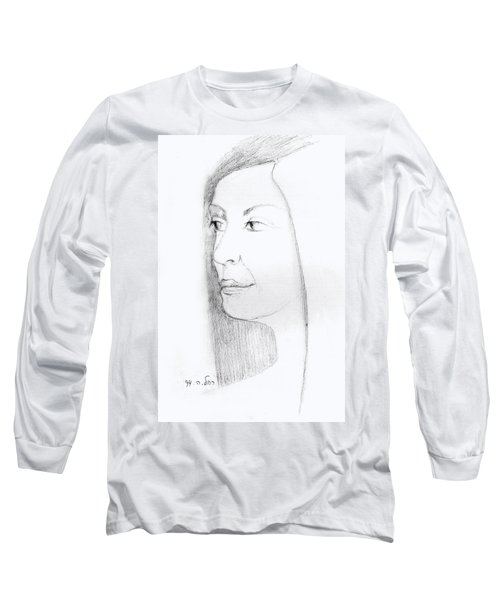 Woman In Black And White Long Hair Red Lips And Shoulders  Long Sleeve T-Shirt by Rachel Hershkovitz