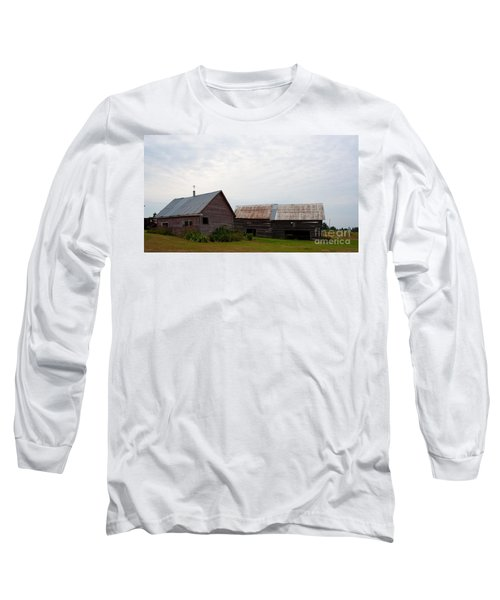 Long Sleeve T-Shirt featuring the photograph Wood And Log Sheds by Barbara McMahon