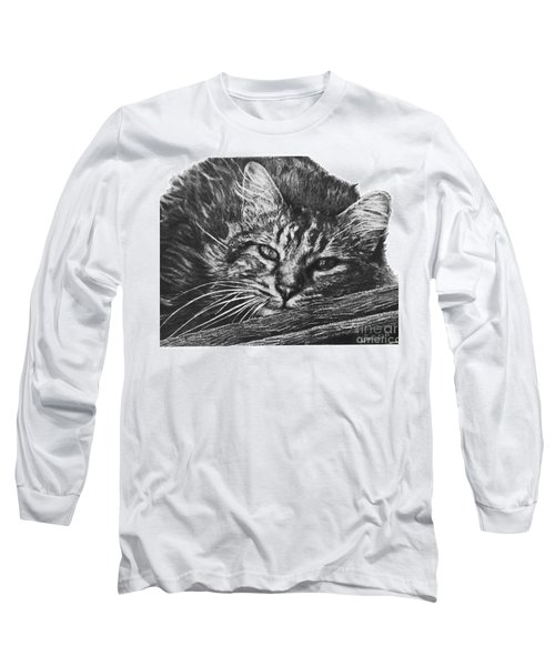 Long Sleeve T-Shirt featuring the drawing Wyatt by Marianne NANA Betts