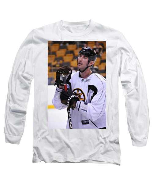 Long Sleeve T-Shirt featuring the photograph Zdeno Chara Takes A Break by Mike Martin