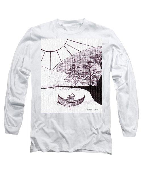 Zen Sumi Asian Lake Fisherman Black Ink On White Canvas Long Sleeve T-Shirt