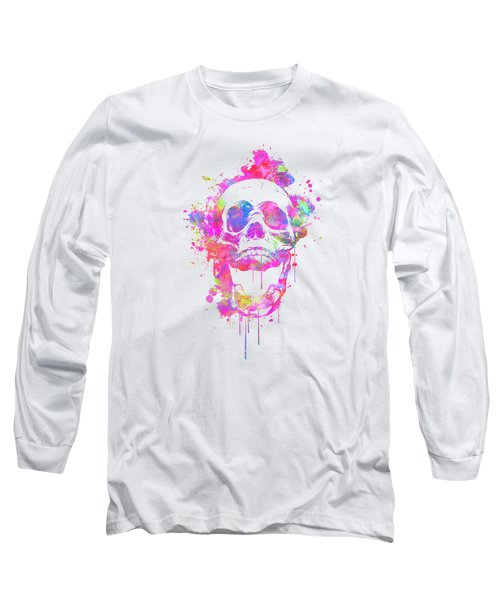 Cool And Trendy Pink Watercolor Skull Long Sleeve T-Shirt