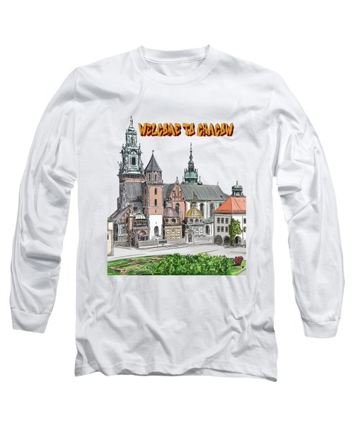 Long Sleeve T-Shirt featuring the painting  Cracow.world Youth Day In 2016. by Andrzej Szczerski