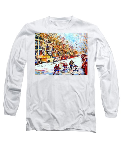 Hockey Game On Colonial Street  Near Roy Montreal City Scene Long Sleeve T-Shirt