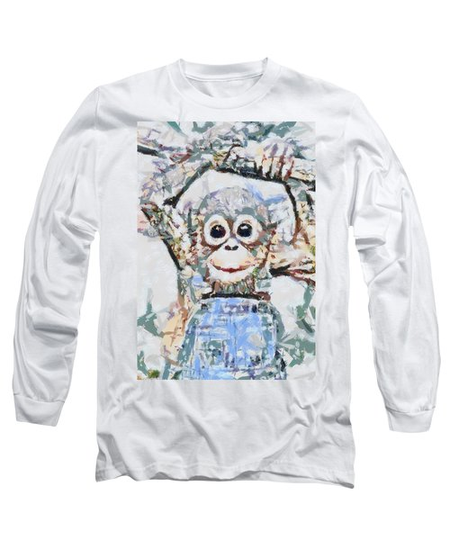 Monkey Rainbow Splattered Fragmented Blue Long Sleeve T-Shirt