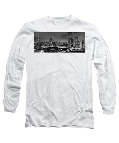 Sao Paulo Iconic Skyline - Cable-stayed Bridge - Ponte Estaiada Long Sleeve T-Shirt