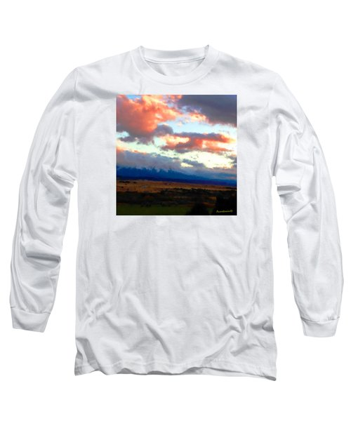 Long Sleeve T-Shirt featuring the photograph  Sunset Clouds Over Spanish Peaks by Anastasia Savage Ealy