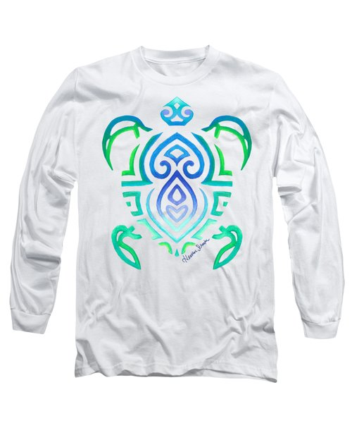 Tribal Turtle Long Sleeve T-Shirt by Heather Schaefer