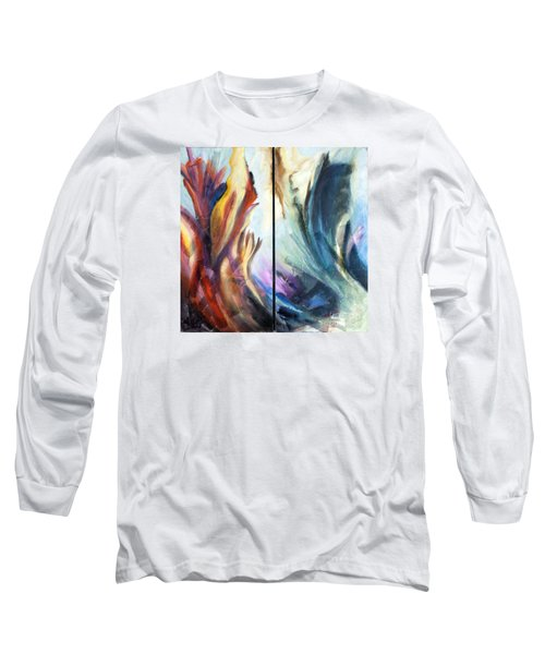Long Sleeve T-Shirt featuring the painting 01321 Fire And Waves by AnneKarin Glass
