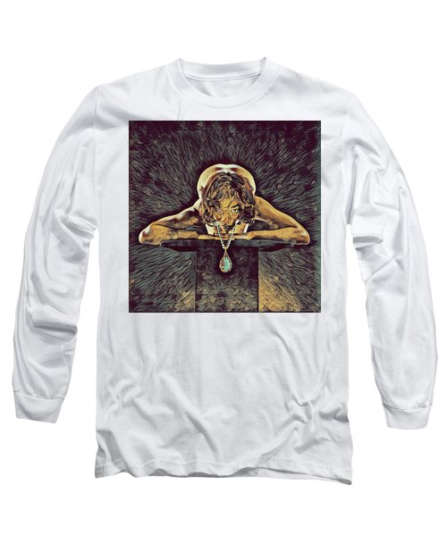 0756s-zac Nude Woman With Amulet On Tall Pedestal  Long Sleeve T-Shirt by Chris Maher