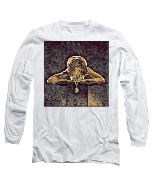 0756s-zac Nude Woman With Amulet On Tall Pedestal  Long Sleeve T-Shirt