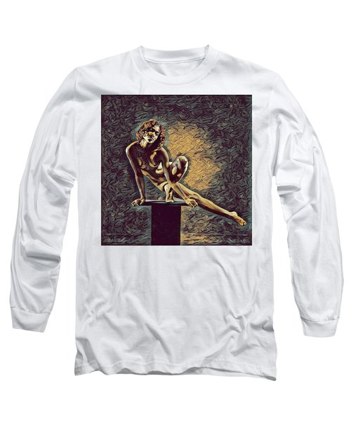 0953s-zac Casual Balance Black Dancer Graceful Strong In The Style Of Antonio Bravo Long Sleeve T-Shirt by Chris Maher