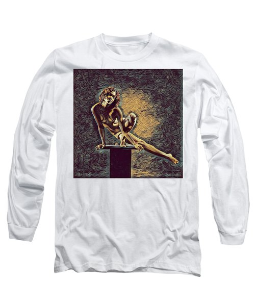 0953s-zac Casual Balance Black Dancer Graceful Strong In The Style Of Antonio Bravo Long Sleeve T-Shirt
