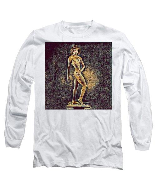 0957s-zac Fit Black Dancer Standing On Platform Long Sleeve T-Shirt