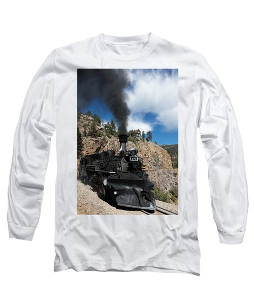 A Durango And Silverton Narrow Gauge Scenic Railroad Train Chugs Through The San Juan Mountains Long Sleeve T-Shirt by Carol M Highsmith