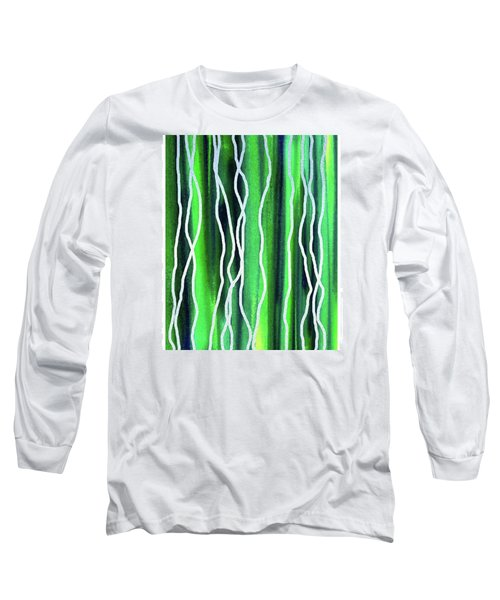 Abstract Lines On Green Long Sleeve T-Shirt