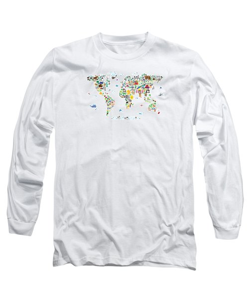 Animal Map Of The World For Children And Kids Long Sleeve T-Shirt