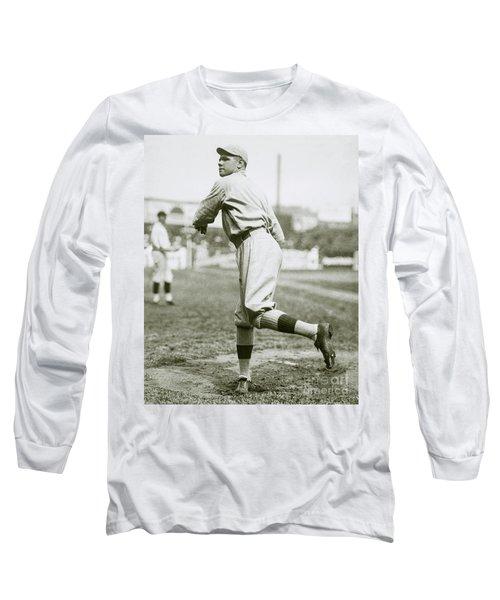 Babe Ruth Pitching Long Sleeve T-Shirt by Jon Neidert