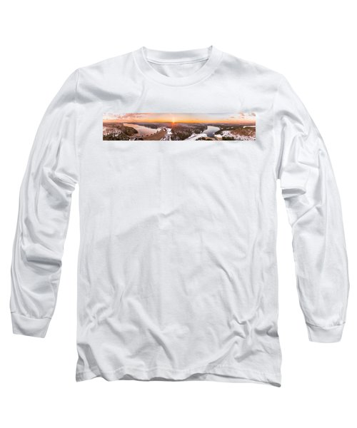Barkhamsted Reservoir And Saville Dam In Connecticut, Sunrise Panorama Long Sleeve T-Shirt