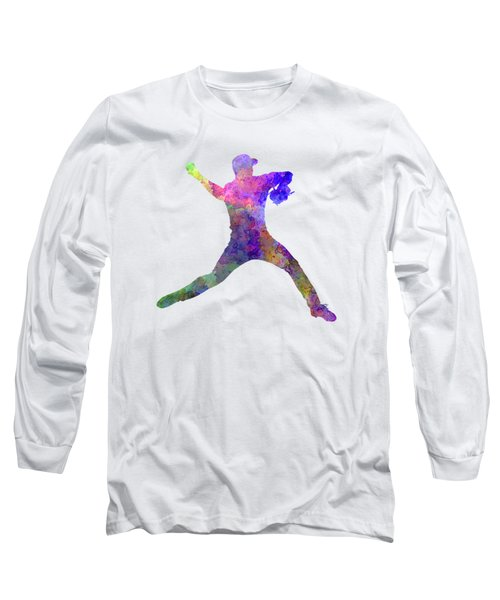 Baseball Player Throwing A Ball Long Sleeve T-Shirt