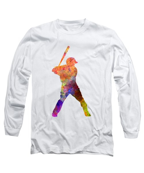 Baseball Player Waiting For A Ball Long Sleeve T-Shirt by Pablo Romero