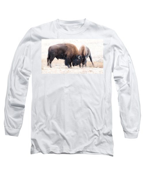 Long Sleeve T-Shirt featuring the photograph Battle Of The Bison In Rut by Yeates Photography