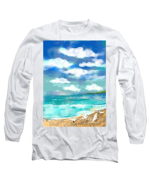 Long Sleeve T-Shirt featuring the digital art Beach Birds by Elaine Lanoue