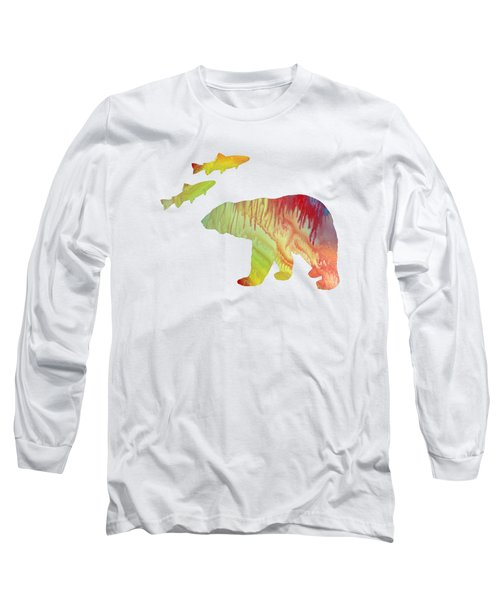 Bear And Salmon Long Sleeve T-Shirt