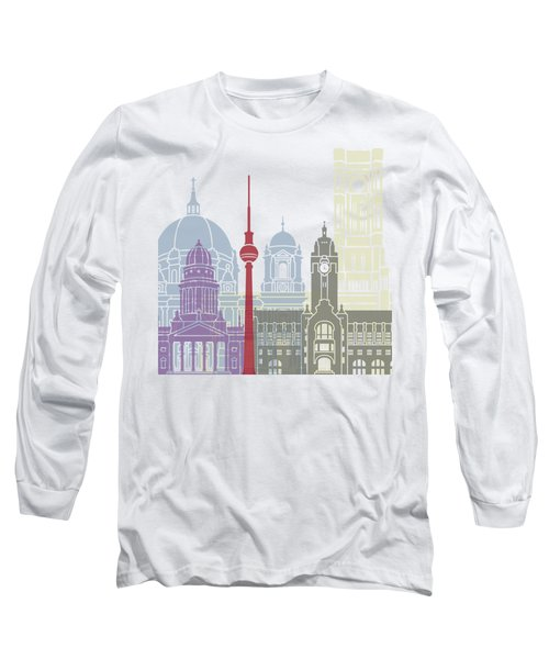 Berlin Skyline Poster Long Sleeve T-Shirt by Pablo Romero