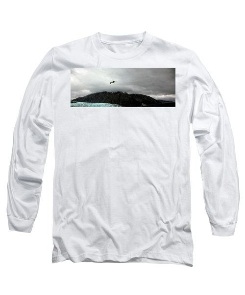 Long Sleeve T-Shirt featuring the photograph Bird Over Glacier - Alaska by Madeline Ellis