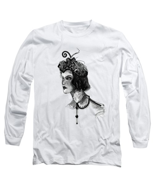 Black And White Watercolor Fashion Illustration Long Sleeve T-Shirt