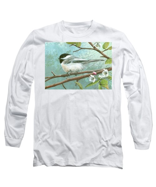 Black Cap Chickadee Long Sleeve T-Shirt by Mike Brown