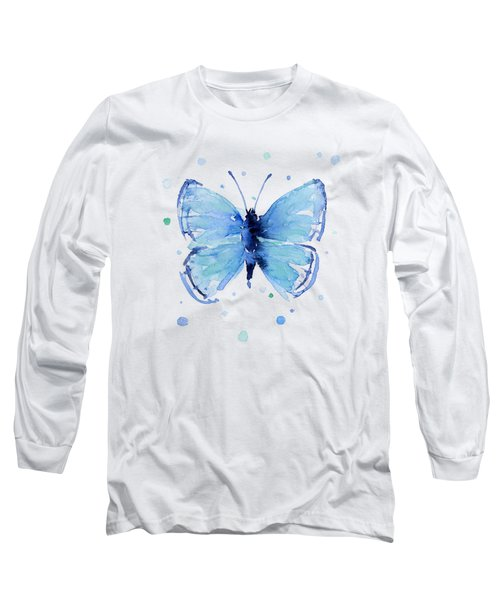 Blue Abstract Butterfly Long Sleeve T-Shirt