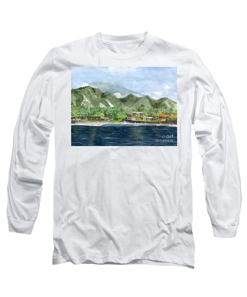 Long Sleeve T-Shirt featuring the painting Blue Lagoon Bali Indonesia by Melly Terpening