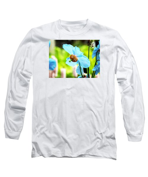 Blue Poppy Long Sleeve T-Shirt by Zinvolle Art