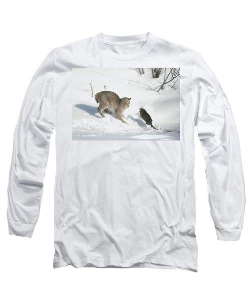 Bobcat Lynx Rufus Hunting Muskrat Long Sleeve T-Shirt