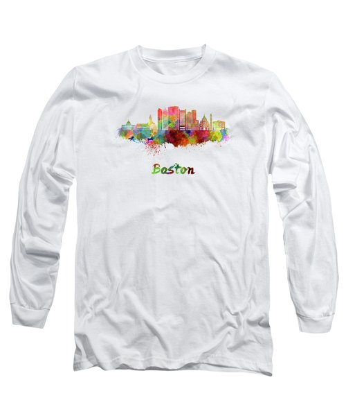 Boston Skyline In Watercolor Long Sleeve T-Shirt