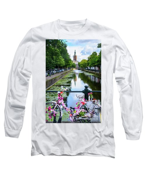 Long Sleeve T-Shirt featuring the digital art Canal And Decorated Bike In The Hague by RicardMN Photography
