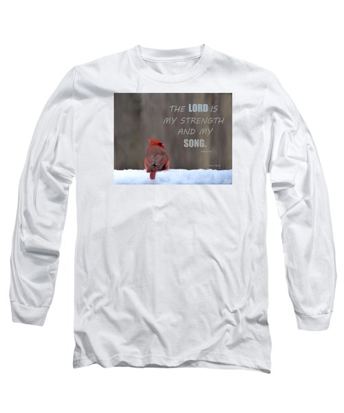 Cardinal In The Snowstorm With Scripture Long Sleeve T-Shirt by Sandi OReilly