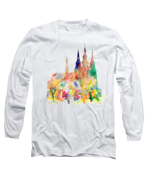 Cathedral Of Saint Vitus In The Prague Castle Watercolor Art Long Sleeve T-Shirt
