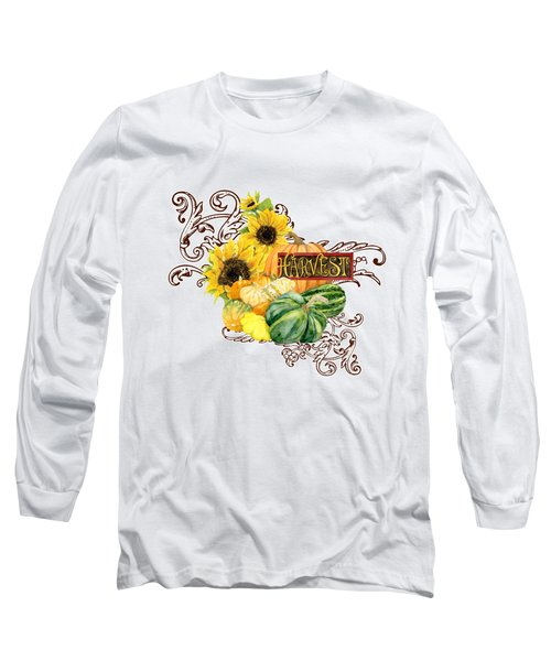 Long Sleeve T-Shirt featuring the painting Celebrate Abundance - Harvest Fall Pumpkins Squash N Sunflowers by Audrey Jeanne Roberts
