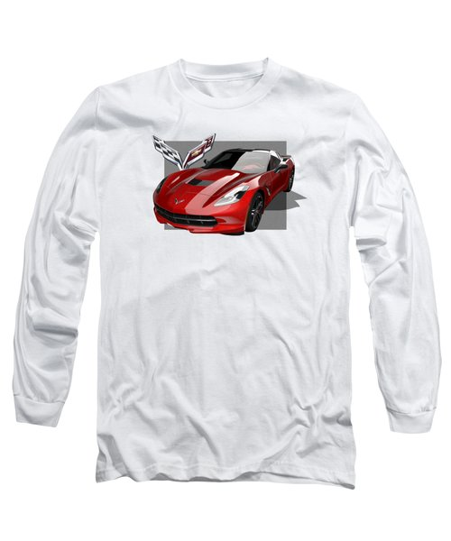Chevrolet Corvette  C 7  Stingray With 3 D Badge  Long Sleeve T-Shirt by Serge Averbukh