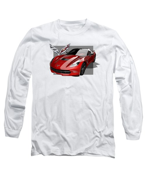 Chevrolet Corvette  C 7  Stingray With 3 D Badge  Long Sleeve T-Shirt