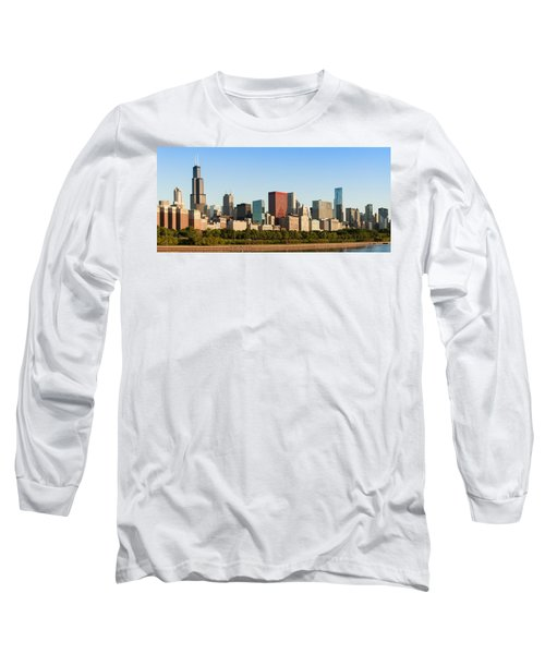 Chicago Downtown At Sunrise Long Sleeve T-Shirt by Semmick Photo