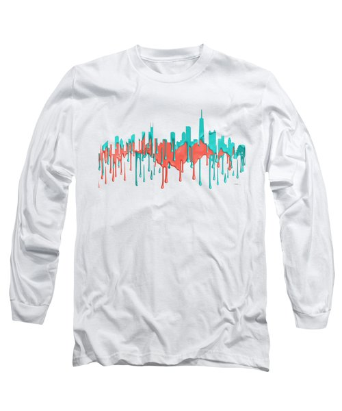 Chicago Illinios Skyline Long Sleeve T-Shirt by Marlene Watson