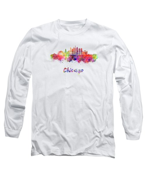 Chicago Skyline In Watercolor Long Sleeve T-Shirt