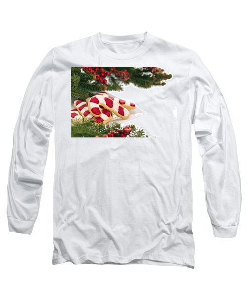 Christmas Cookies Decorated With Real Tree Branches Long Sleeve T-Shirt by Ulrich Schade