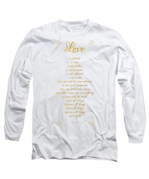 1 Corinthians 13 Love Is White Background Long Sleeve T-Shirt